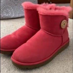 Pink short button ugg boots